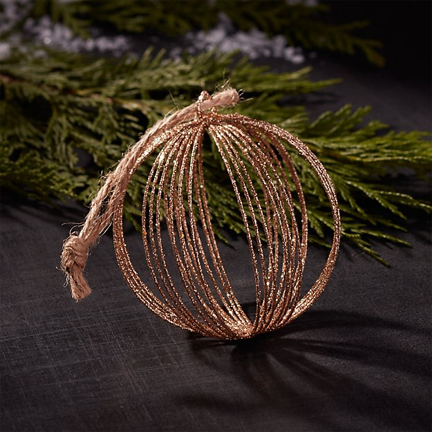 Glitter Wire Champagne Gold Ball Ornament