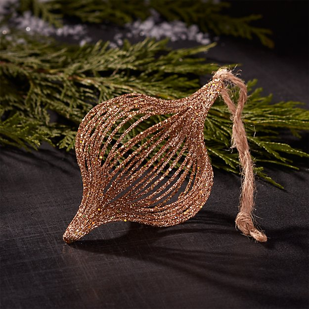 Gltter Wire Champagne Gold Onion Ornament