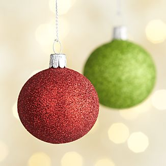 Glitter Ball Green and Red Ornaments