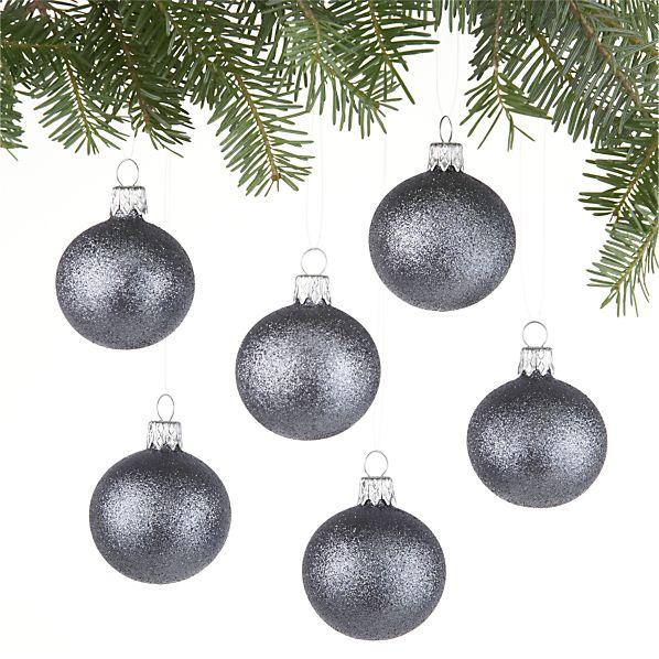 Set of 6 Glitter Ball Graphite Ornaments