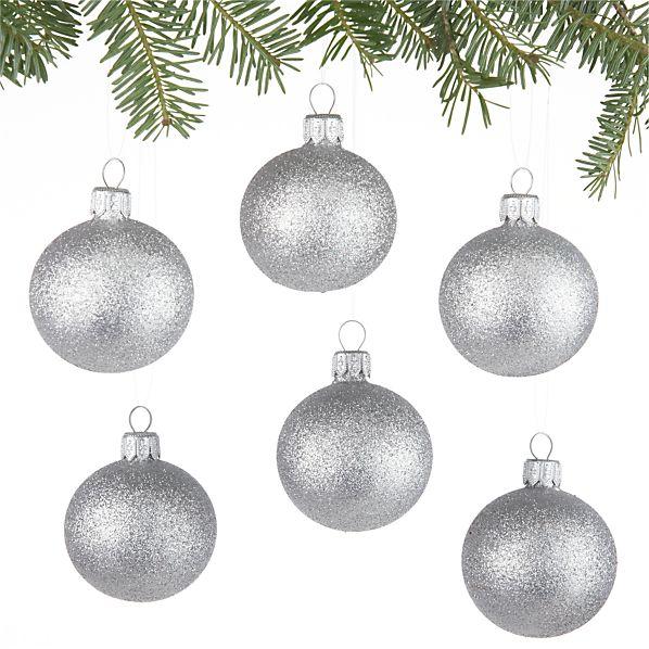 Set of 6 Glitter Ball Silver Ornaments