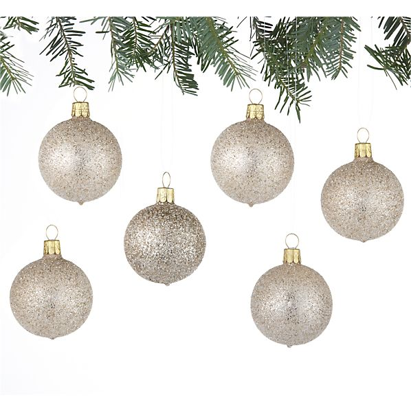 Set of 6 Glitter Bead Ball Gold Ornaments