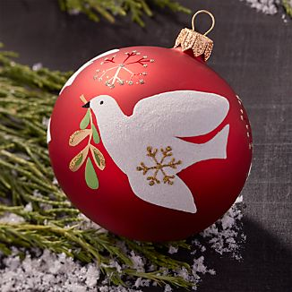 Glitter Bird of Peace Red Ball Ornament