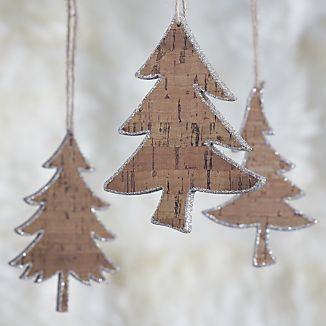 Glitter Cork Tree Ornaments