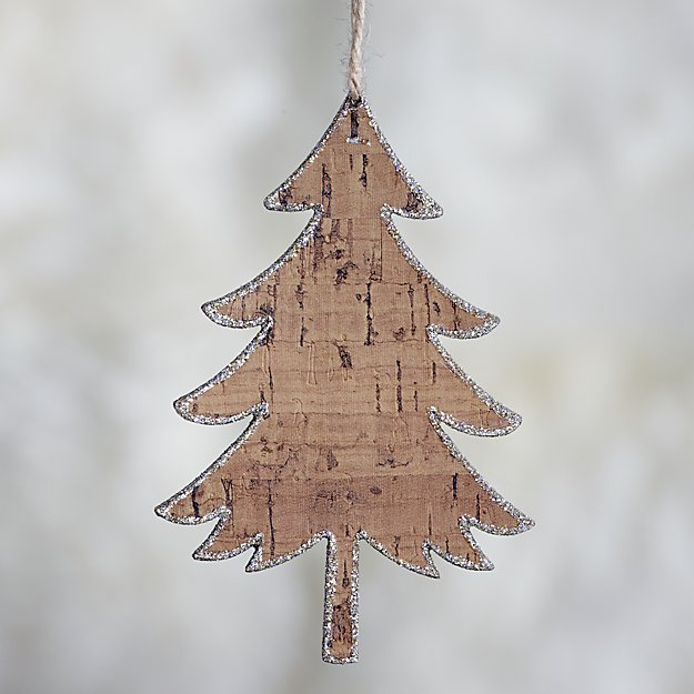 Wide Glitter Cork Tree Ornament