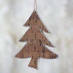 Curved Trunk Glitter Cork Tree Ornament