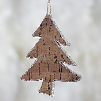 Curved Trunk Glitter Cork Tree Ornament