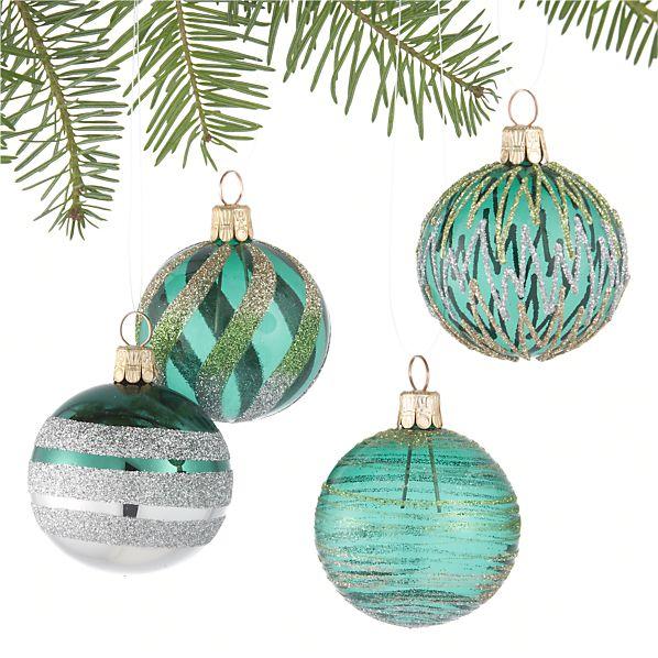 Set of 4 Glitter Design Tonal Green Ball Ornaments