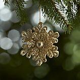 Dimensional Champagne Gold Glitter Snowflake Ornament