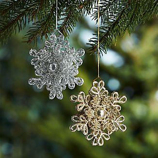 Dimensional Glitter Snowflake Ornaments