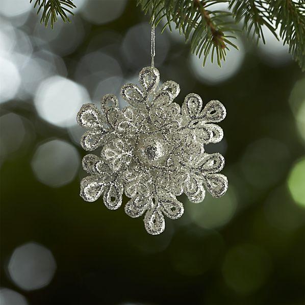 Dimensional Silver Glitter Snowflake Ornament