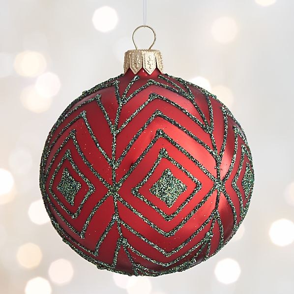 Red Glitter Diamond Ball Ornament