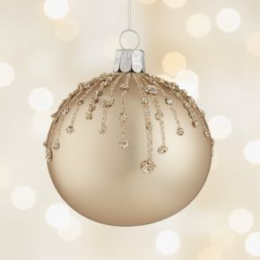 Glitter Drip Gold Ball Ornament