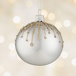 Glitter Drip Silver Ball Ornament