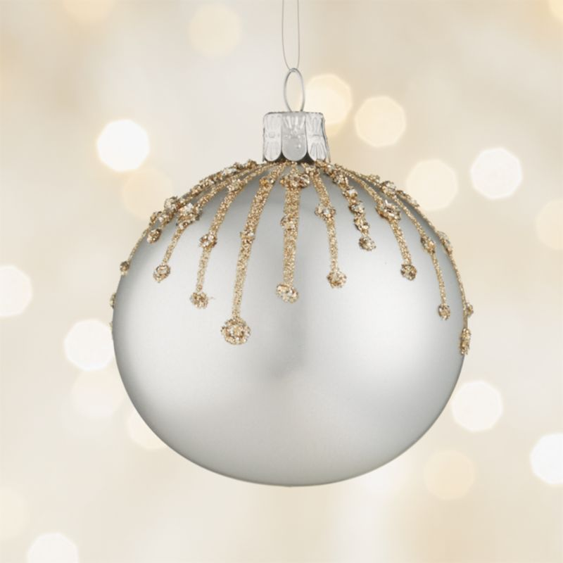 Glitter Drip Silver Ball Ornament