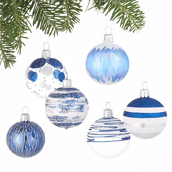 Set of 6 Glitter Design Blue and White Ball Ornaments