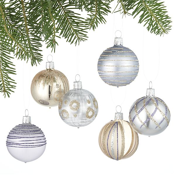 Glitter Design Gold and Lavender and Silver Ball Ornaments Set of Six