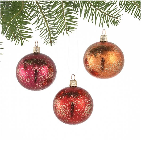 Set of 3 Glitter Dust Red and Pink and Orange Ball Ornaments
