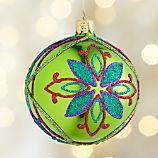 Glitter Flower Green Ball Ornament
