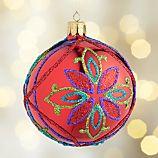 Glitter Flower Red Ball Ornament