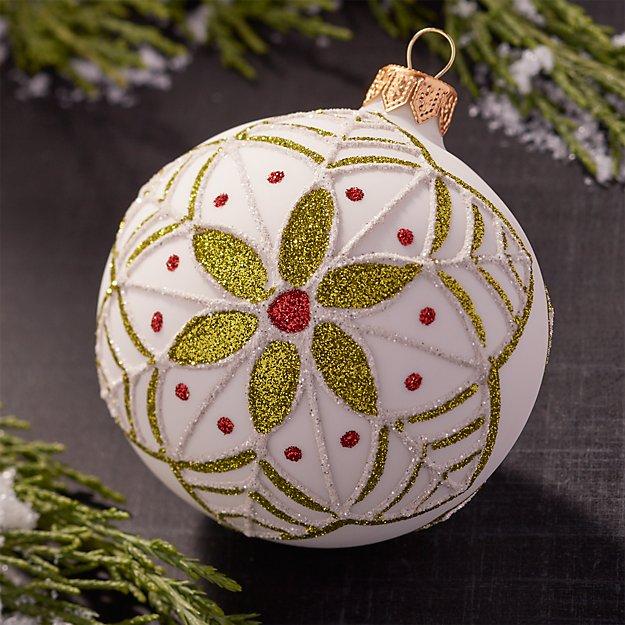 Glitter Flower White Ball Ornament