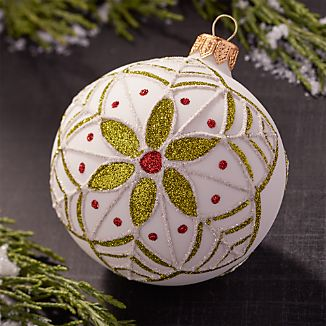 Glitter Flower White Ball Ornament