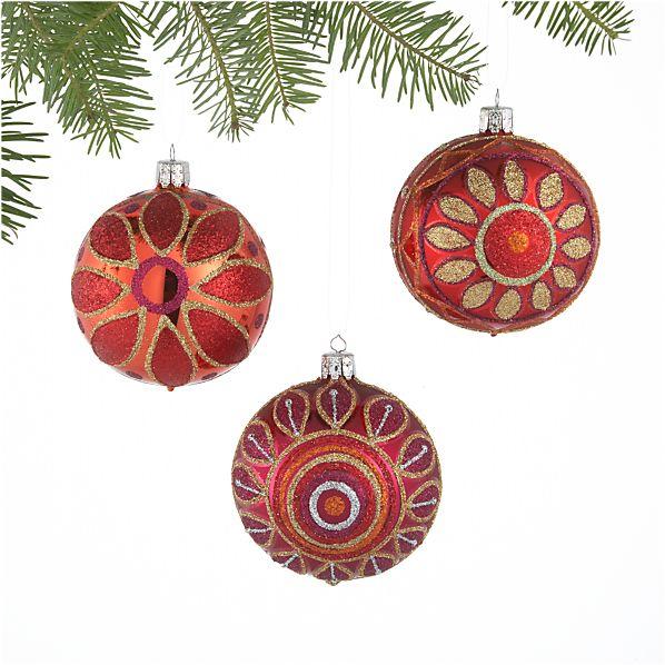 Set of 3 Glitter Flower Ball Ornaments