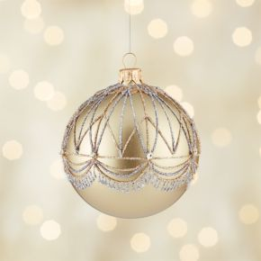 Glitter Gatsby Gold Ball Ornament