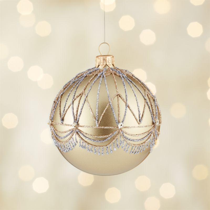 Glitter Gatsby Gold Ball Ornament
