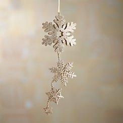 Gold Glitter Hinged Triple Snowflake Ornament