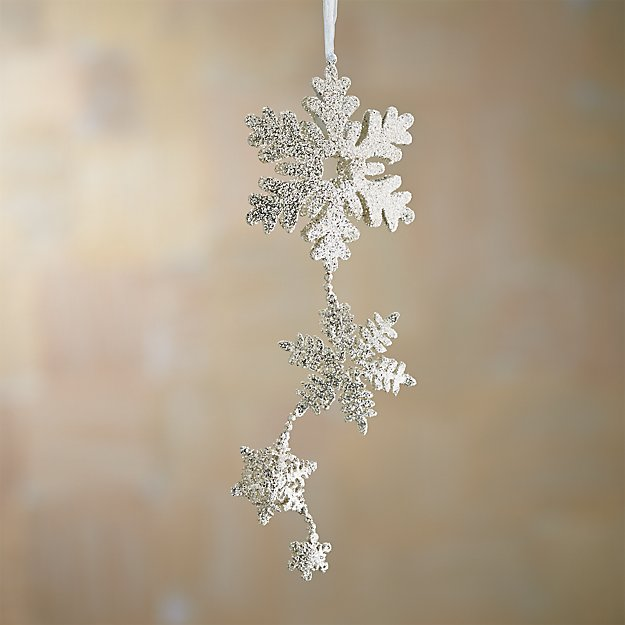 Silver Glitter Hinged Triple Snowflake Ornament