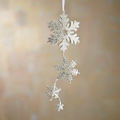 Silver Glitter Hinged Triple Snowflake Ornament
