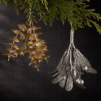Glitter Gold Holly and Silver Mistletoe Ornaments