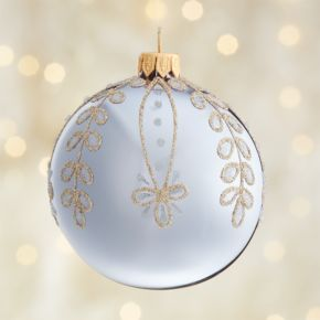 Glitter Leaf Drop Lavender Ball Ornament