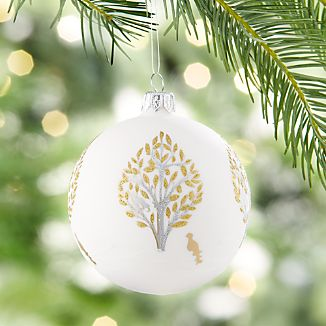 Glitter Pear Tree White Ball Ornament