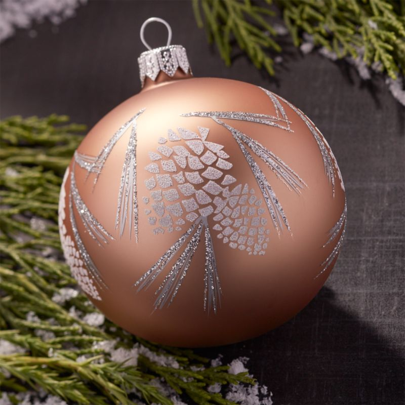 Glitter Pinecone Ball Bronze Ornament