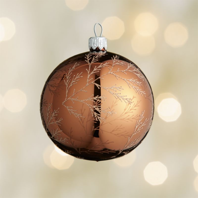 Glitter Pine Bronze Ball Ornament