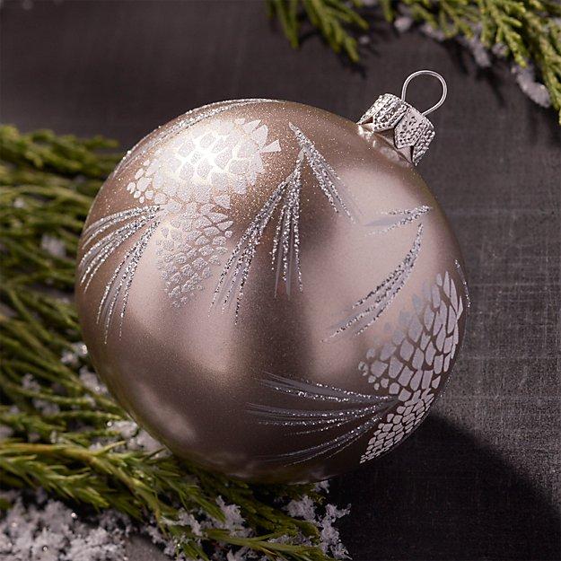Glitter Pinecone Ball Champagne Gold Ornament