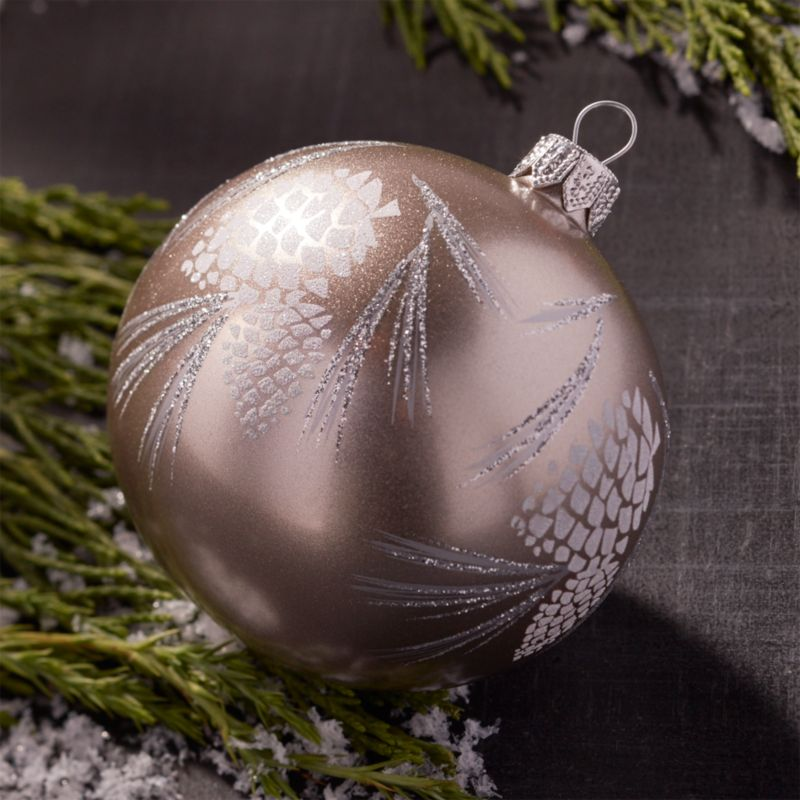 Glitter Pinecone Ball Champagne Gold Ornament