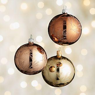 Glitter Pine Metallic Ball Ornaments