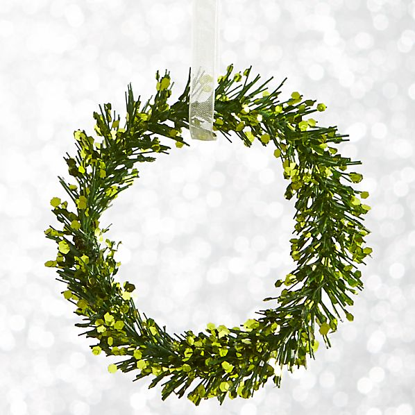 Green Glitter Pine Wreath Ornament