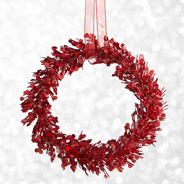 Red Glitter Pine Wreath Ornament