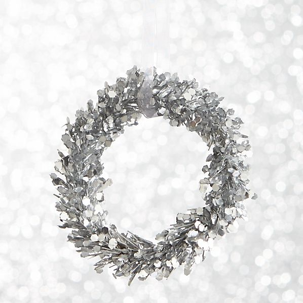 Silver Glitter Pine Wreath Ornament