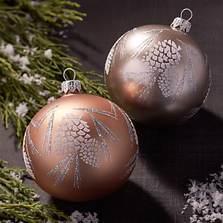 Glitter Pinecone Ball Ornaments