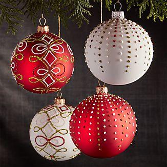 Glitter Polka Dot and Ribbon and Bows Ornaments