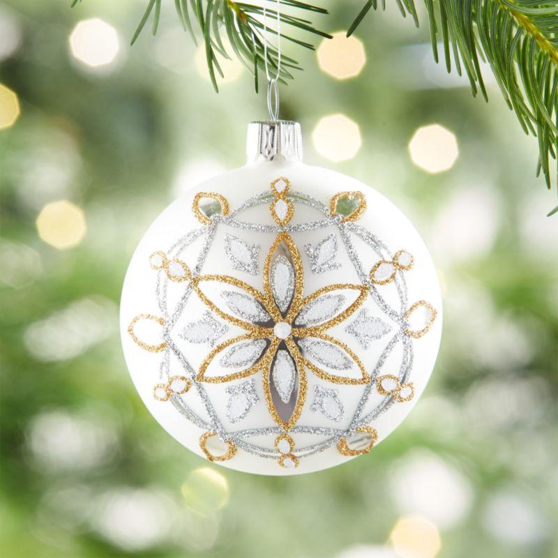 Glitter Snowflake Matte Silver Ball Ornament