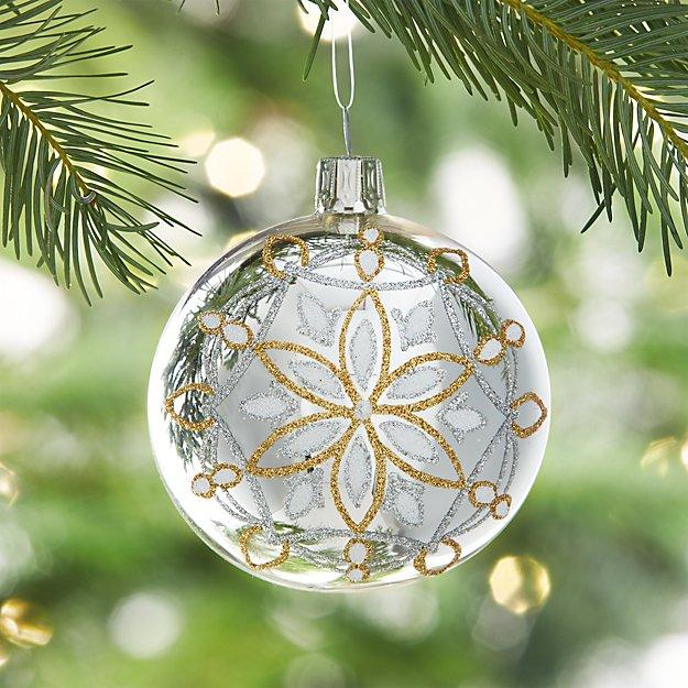 Glitter Snowflake Shiny Silver Ball Ornament