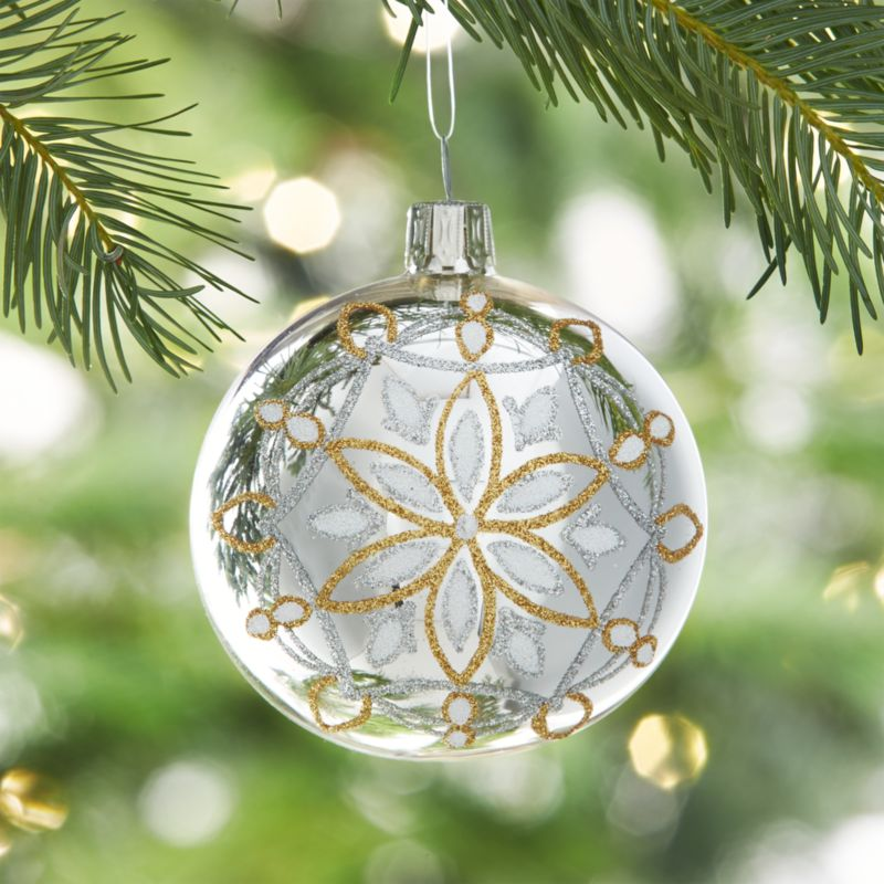 Glitter Snowflake Shiny Silver Ball Ornament