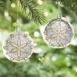 Glitter Snowflake Silver Ball Ornaments