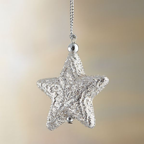 Silver Glitter Star Ornament